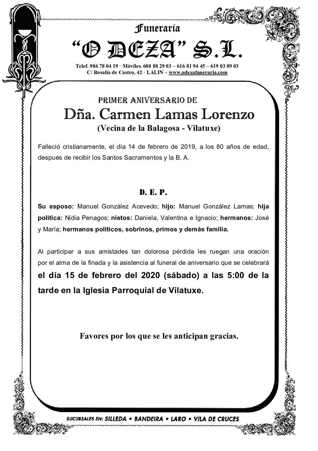 DÑA. CARMEN LAMAS LORENZO