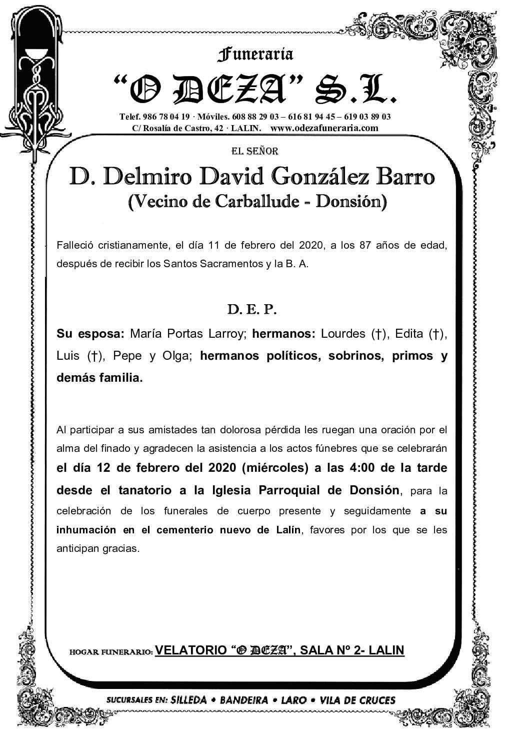 D. DELMIRO DAVID GONZÁLEZ BARRO