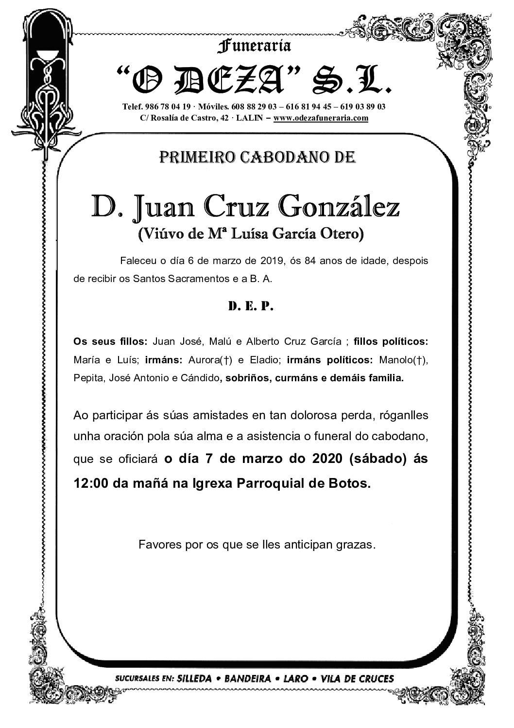 D. JUAN CRUZ GONZÁLEZ