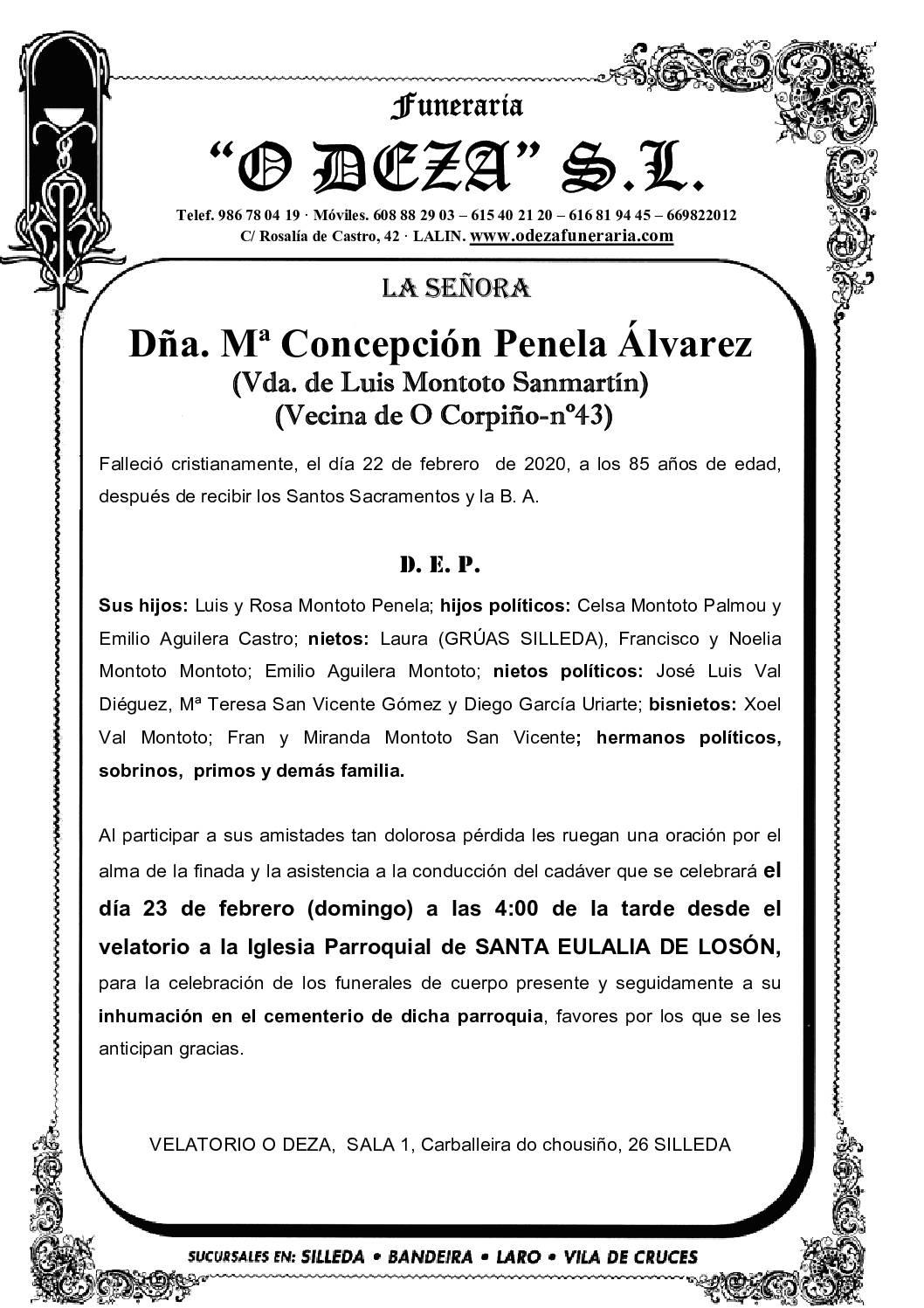 DÑA. Mª CONCEPCIÓN PENELA ÁLVAREZ