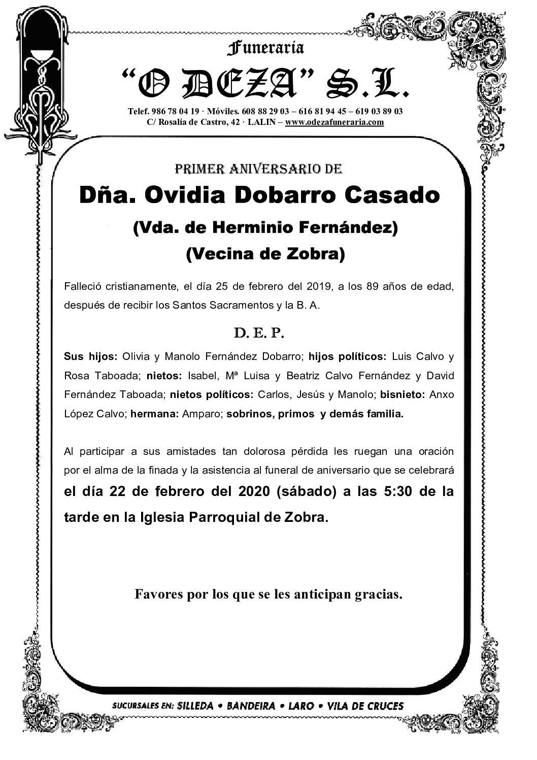 DÑA. OVIDIA DOBARRO CASADO