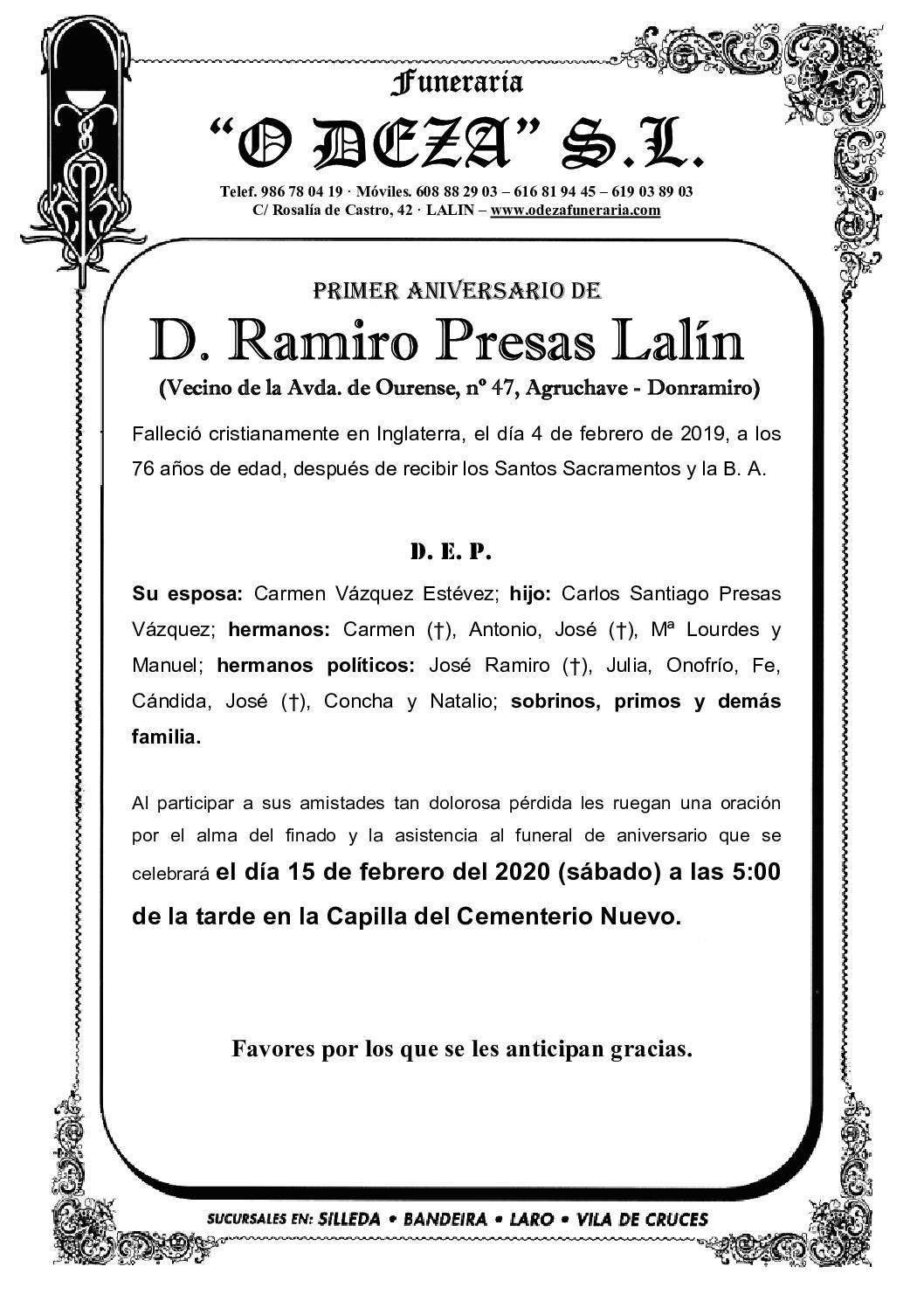D. RAMIRO PRESAS LALIN