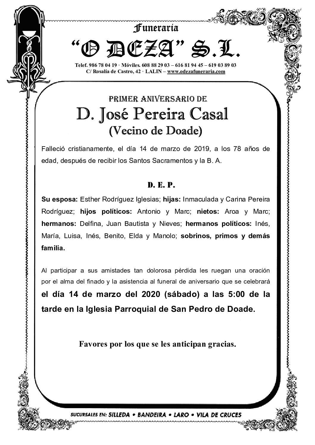 D. JOSÉ PEREIRA CASAL