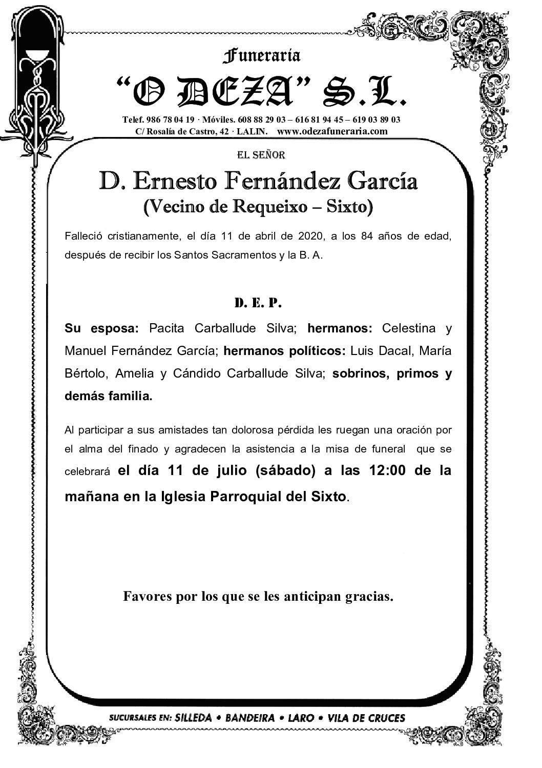 D. ERNESTO FERNÁNDEZ GARCÍA