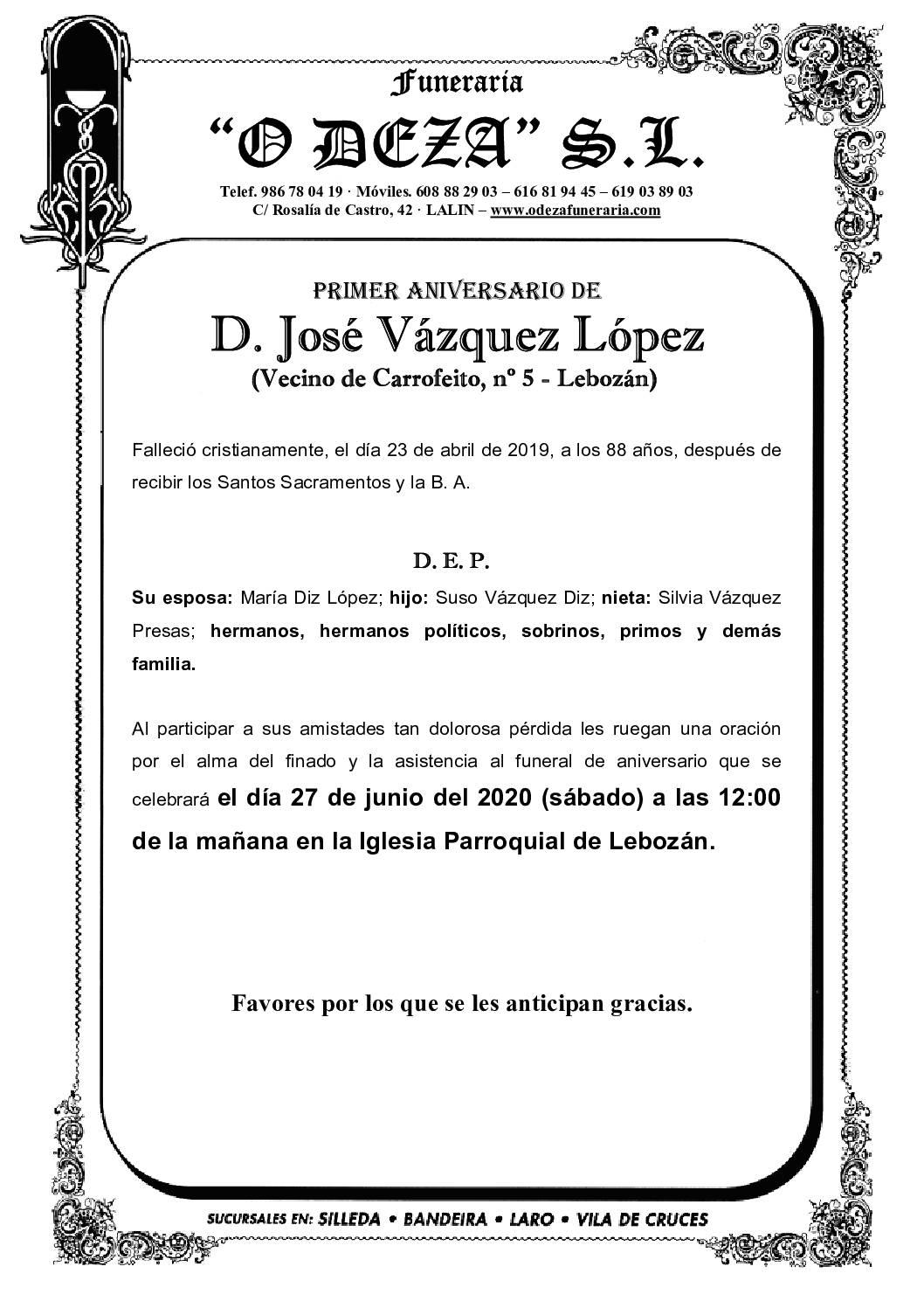 D. JOSÉ VÁZQUEZ LÓPEZ