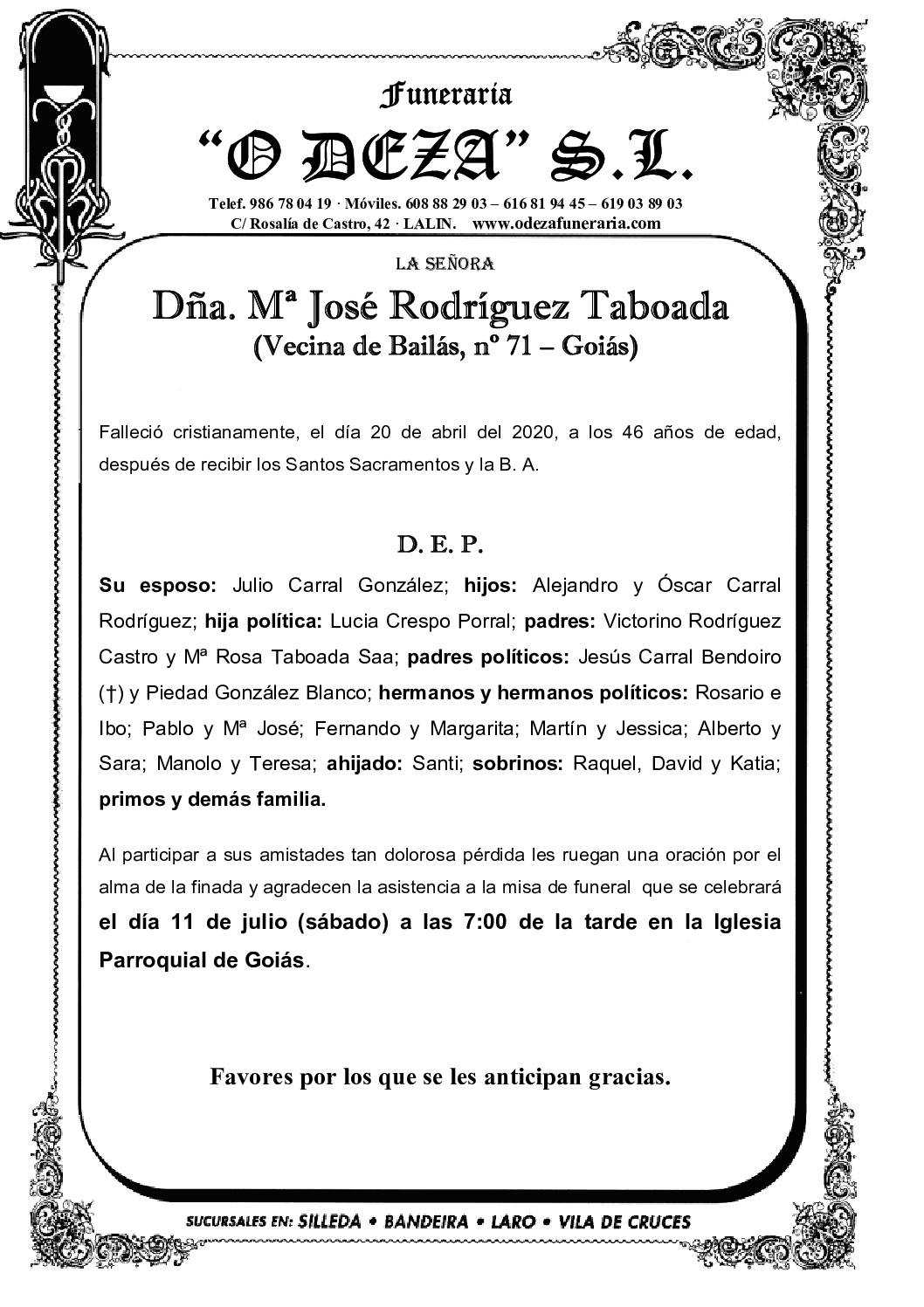 DÑA. Mª JOSÉ RODRIGUEZ TABOADA