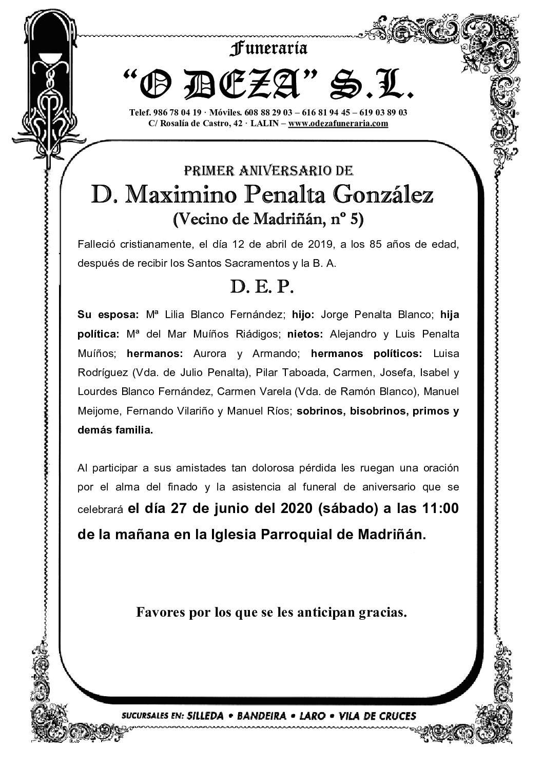 D. MAXIMINO PENALTA GONZÁLEZ