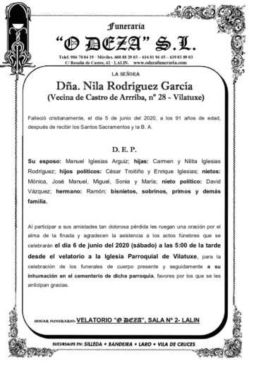 DÑA. NILA RODRIGUEZ GARCIA