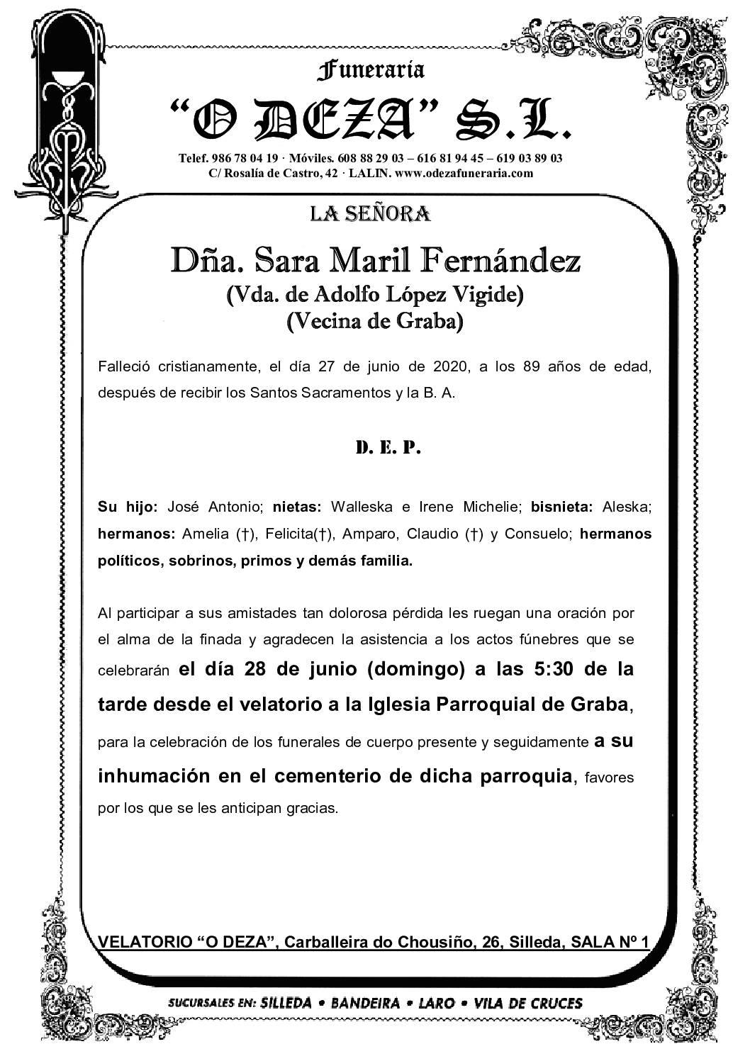 DÑA. SARA MARIL FERNÁNDEZ