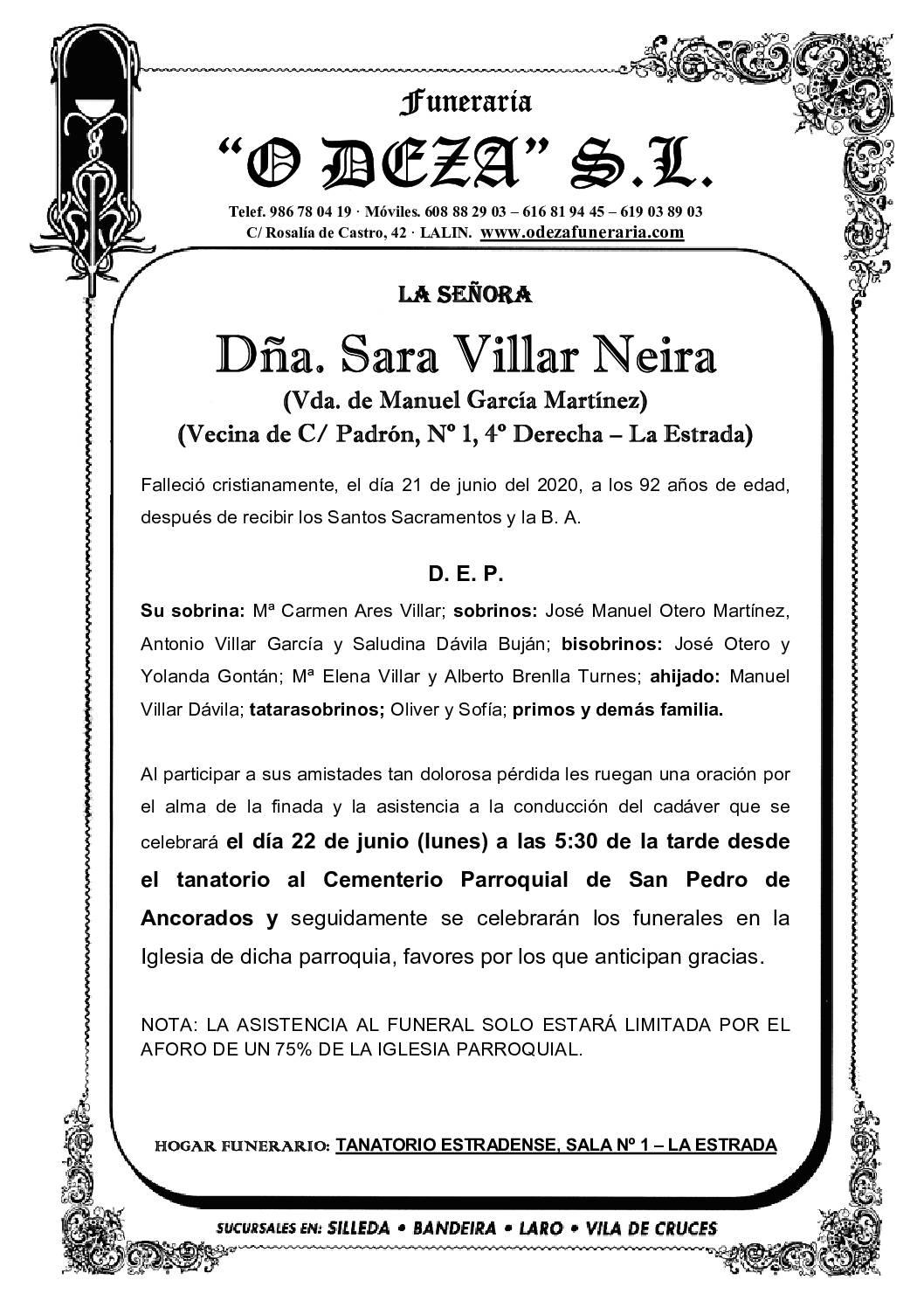 DÑA. SARA VILLAR NEIRA