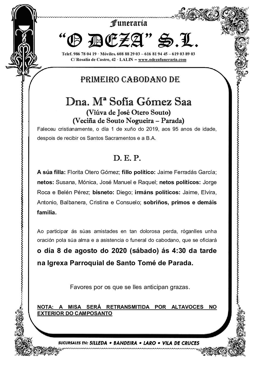 Mª SOFÍA GÓMEZ SAA