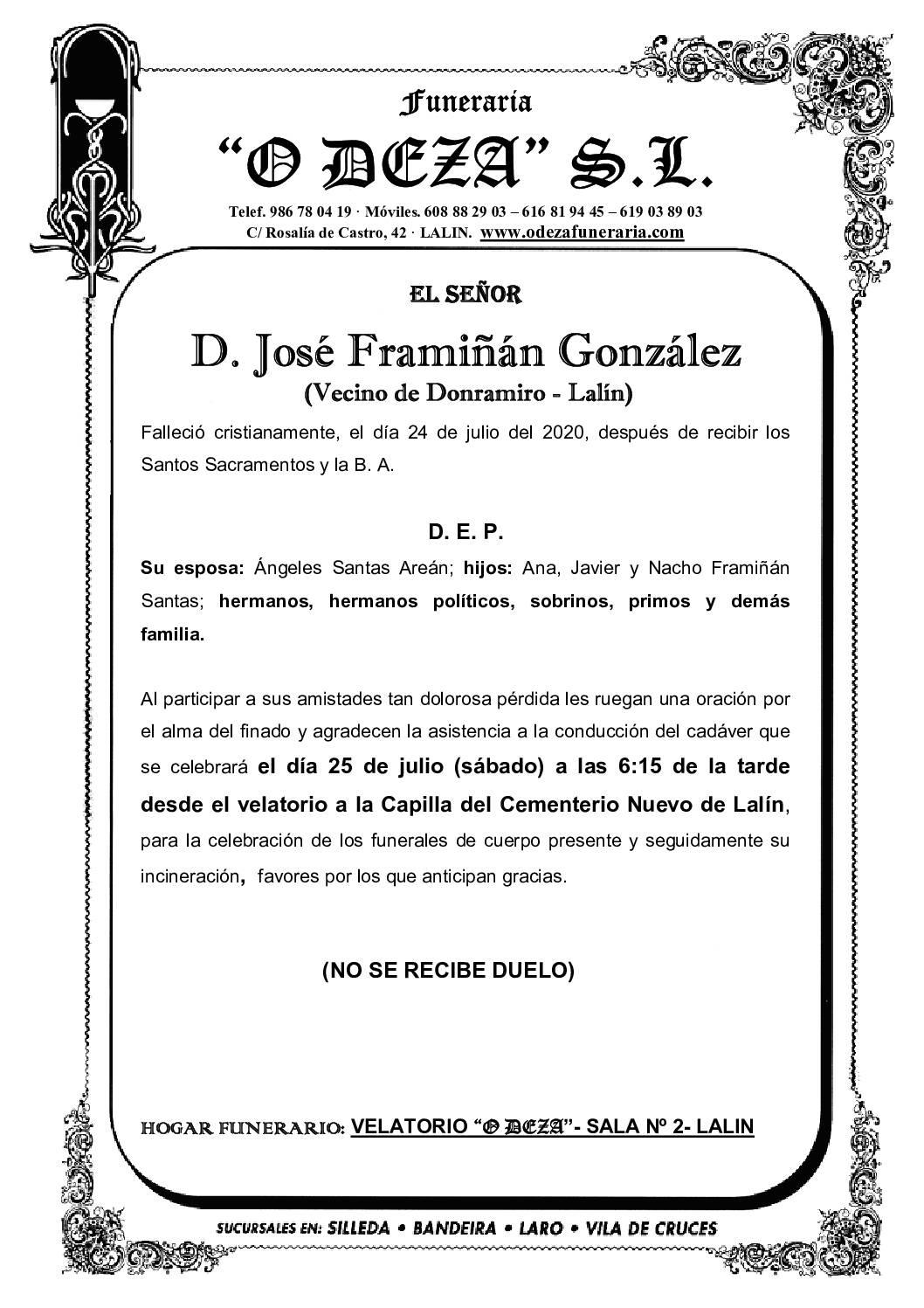 D. JOSÉ FRAMIÑÁN GONZÁLEZ