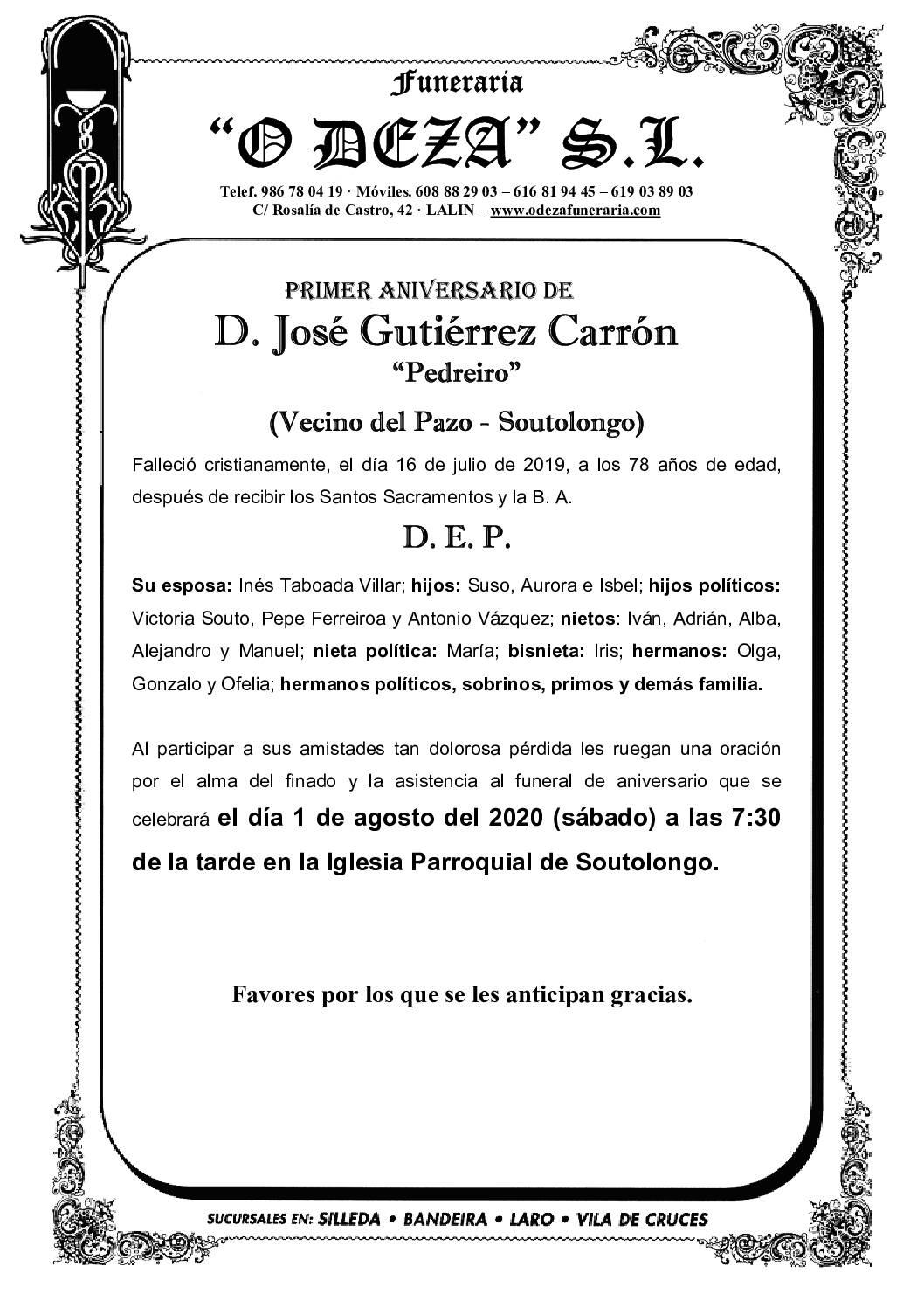 D. JOSÉ GUTIÉRREZ CARRÓN