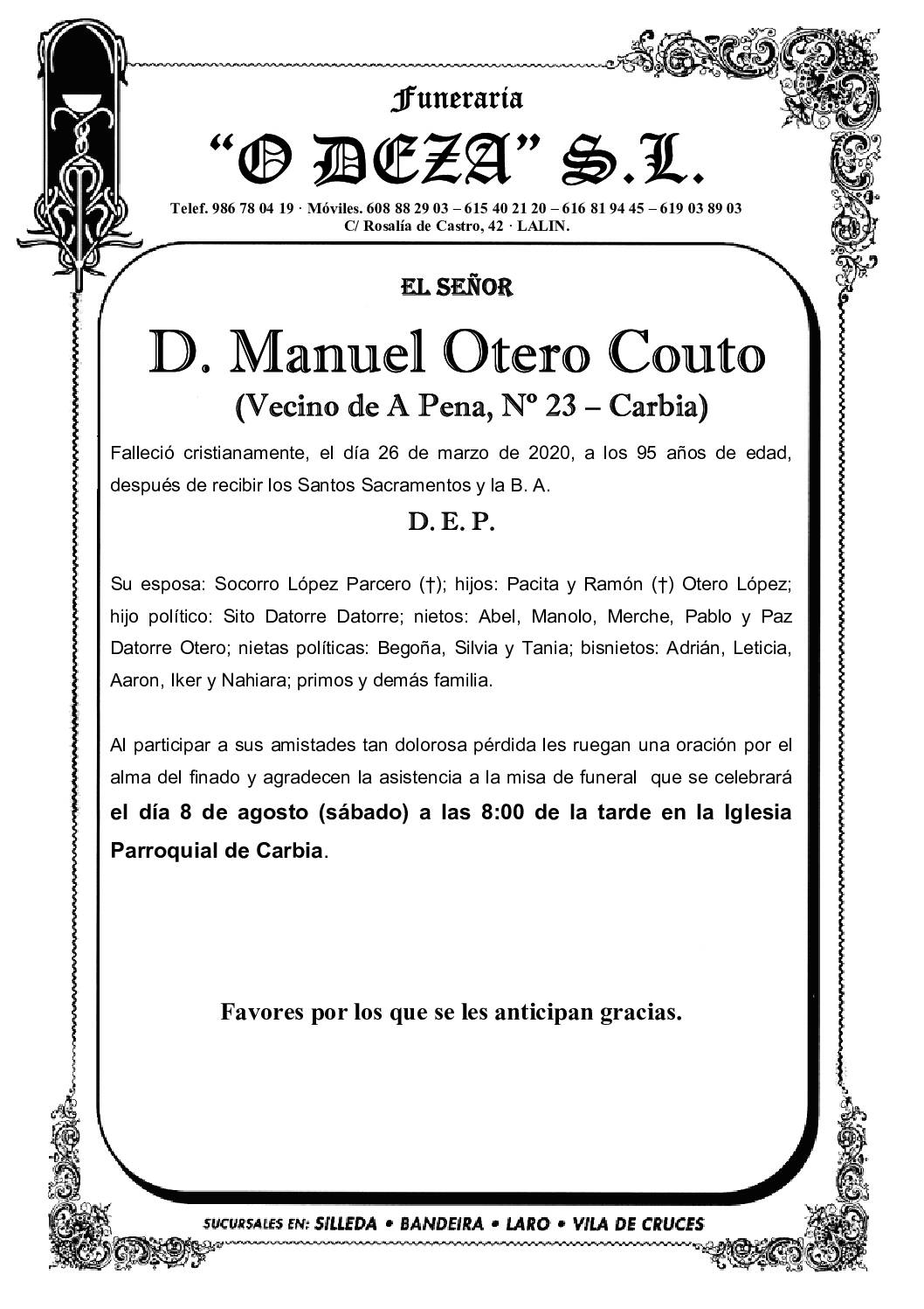 D. MANUEL OTERO COUTO