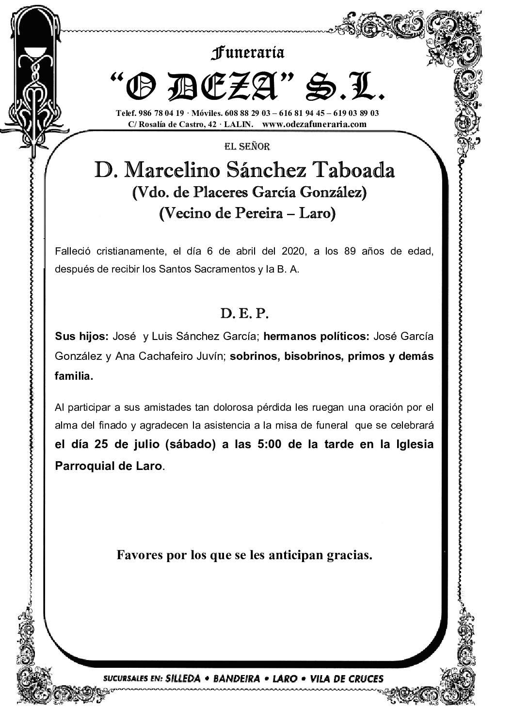 D. MARCELINO SÁNCHEZ TABOADA
