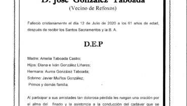 D. JOSÉ GONZÁLEZ TABOADA