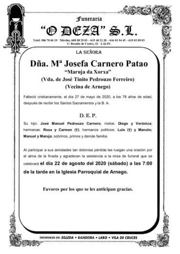 DÑA. Mª JOSEFA CARNERO PATAO