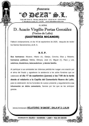 D. ACACIO VIRGILIO PORTAS GONZÁLEZ