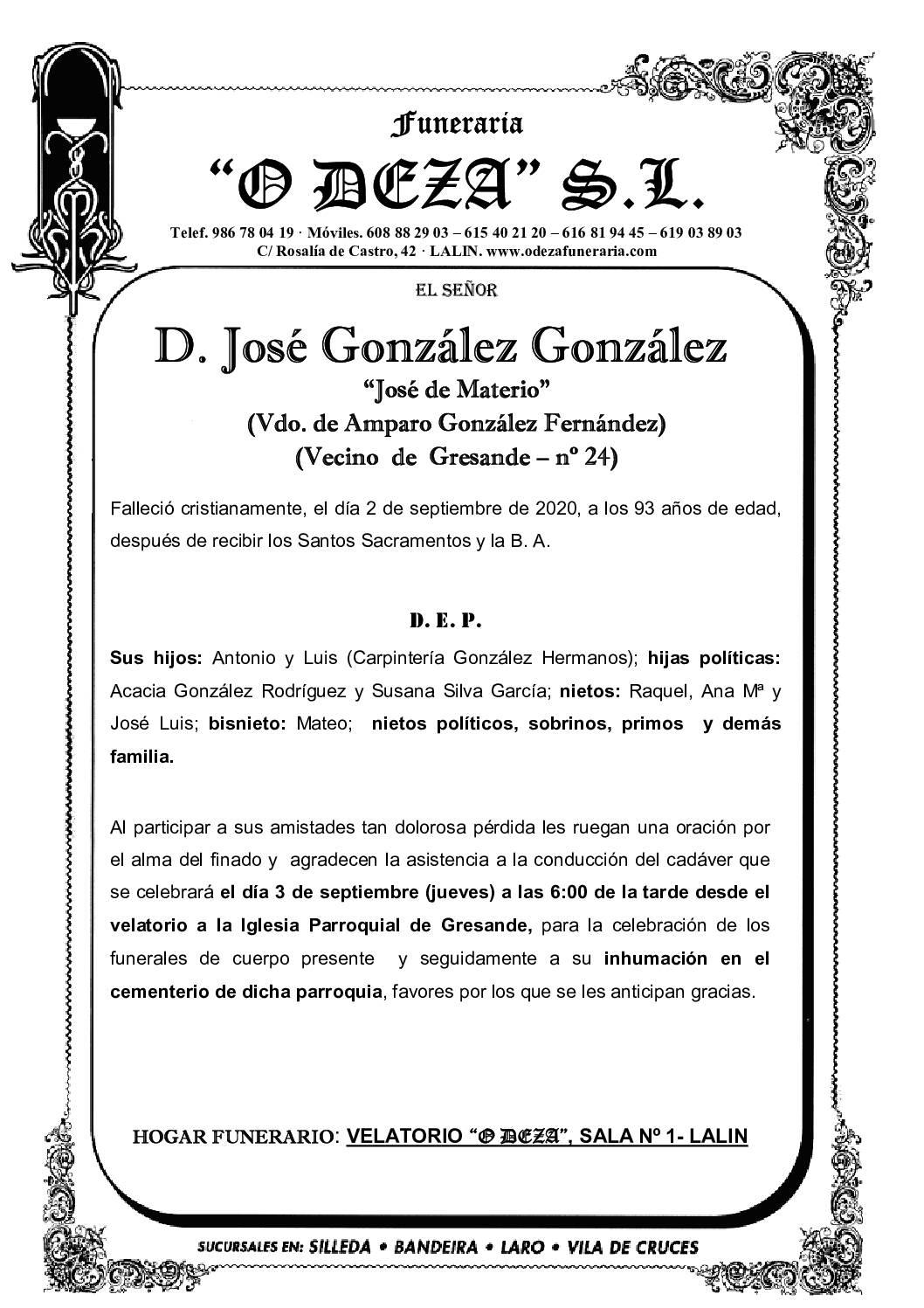 D. JOSÉ GONZÁLEZ GONZÁLEZ