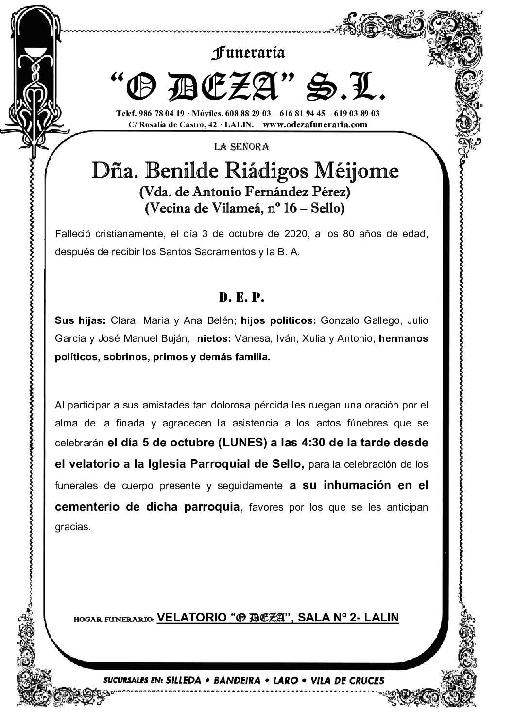 DÑA. BENILDE RIADIGOS MEIJOME