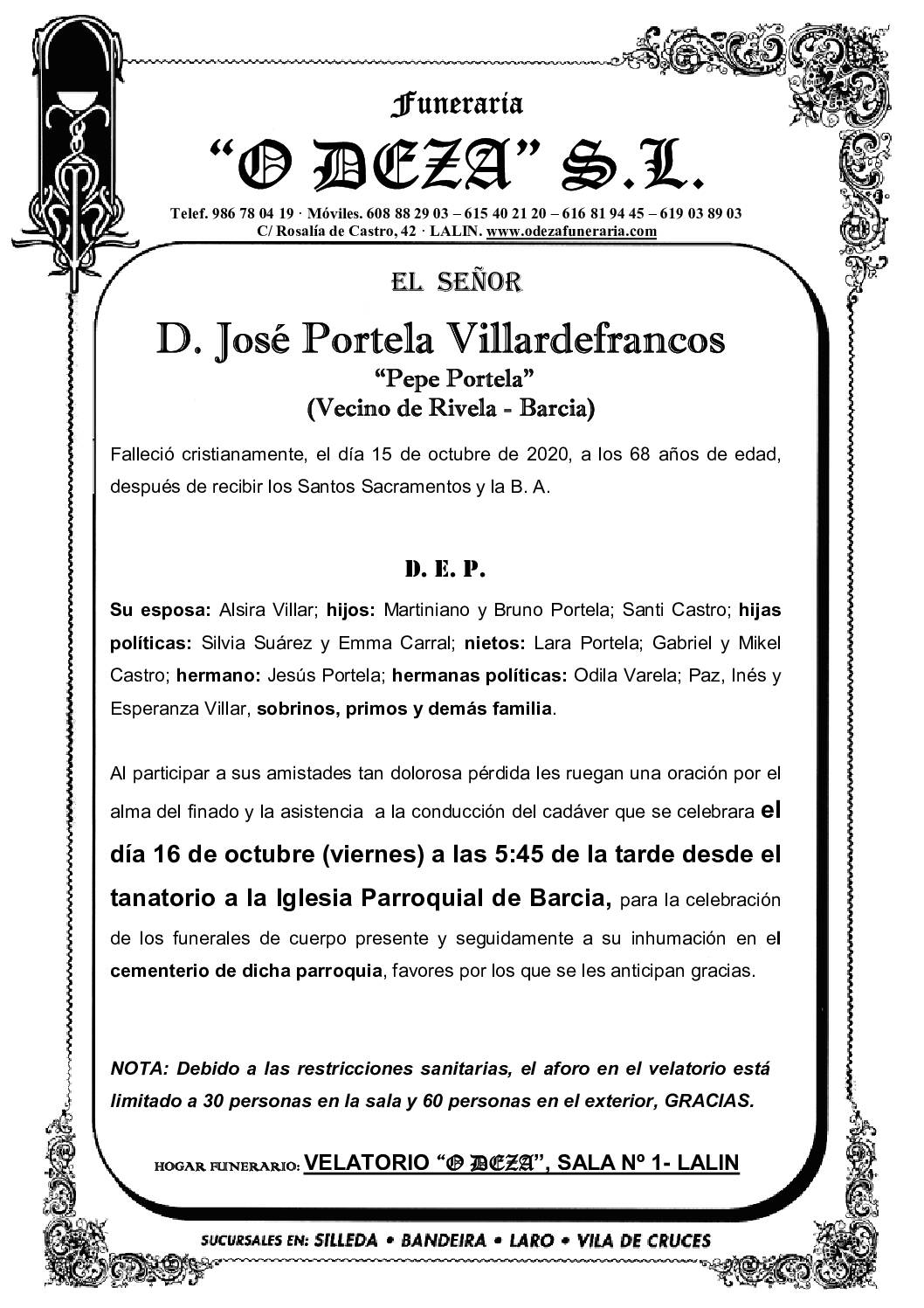 D. JOSÉ PORTELA VILLARDEFRANCO