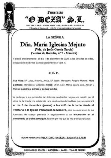 DÑA. MARÍA IGLESIAS MEJUTO