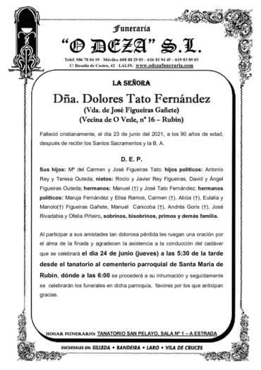 DÑA. DOLORES TATO FERNÁNDEZ