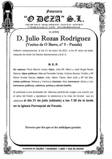 D. JULIO ROZAS RODRÍGUEZ